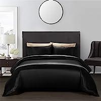 AiMay 3 Piece Duvet Cover Set (1 Duvet Cover + 2 Pillow Shams) Satin Silk Luxury 100% Super Soft Microfiber Bedding…