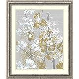 Framed Art Print 'Mustard on Grey Blooms I' by Jennifer Goldberger