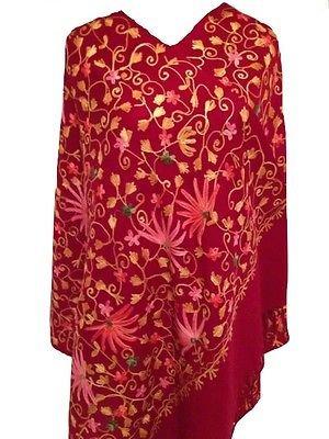 Sunset femme laine indienne indien brodé Boho écharpe étole de châle    fleurs Marron 3a07d028b9e