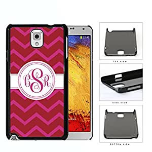 Red And Pink Chevron Monogram (Custom Initials) Hard Plastic Snap On Cell Phone Case Samsung Galaxy Note 3 III N9000 N9002 N9005