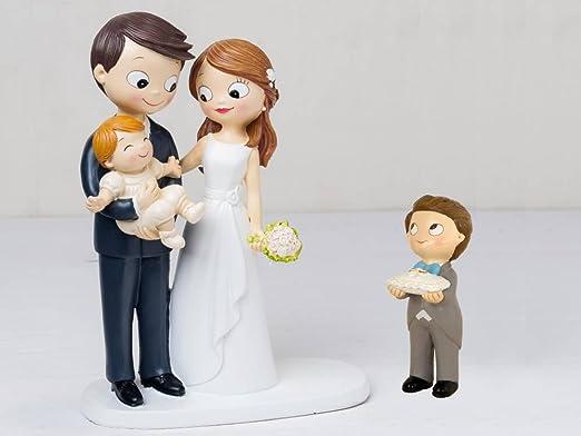 Figura novios tarta bebé a brazos y niño cojín alianzas con ...
