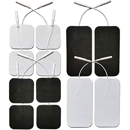 Premium Reusable TENS Unit Electrode Pads - Combo 12-Pack Self-Adhesive Electrodes Patches for TENS / EMS Massage Therapy