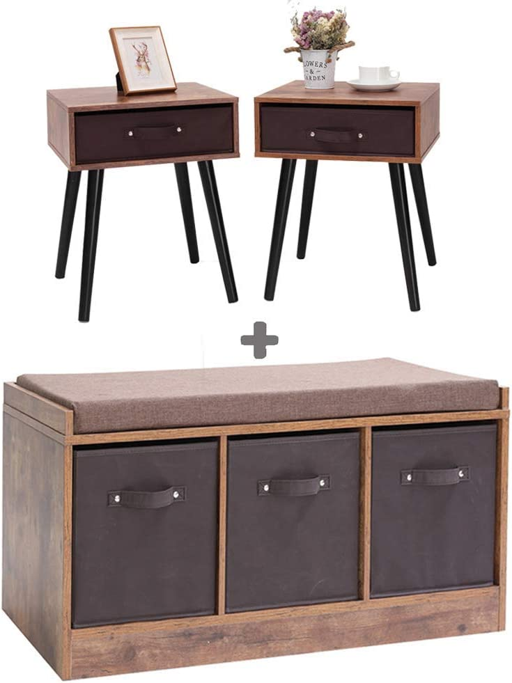 IWELL Rustic Storage Bench & Mid-Century Nightstand Set, Entryway Bench Storage Cabinet, Perfect for Under Window, Hallway, mudroom, Living Room