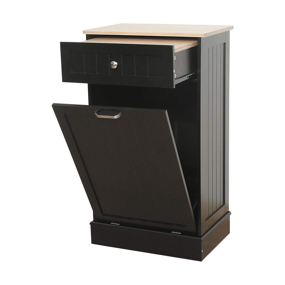 Tilt Out Trash Cabinet Can Bin Kitchen Wooden Trash Can Free Standing Holder Recycling Cabinet with Hideaway Drawer Wooden Removable Bamboo Cutting Board Trash Holder (Black)