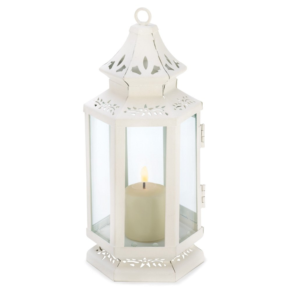 White Victorian Style Lantern Candle Holder Small | ChristmasTablescapeDecor.com
