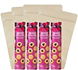 IKEA Raspberry Filled Cookies Bundle - Kakor Hallon Raspberry Cookies - (4 packages, 6.2 oz each) AND Sealable, Kraft Cookie Bags - [4 Cookie Snack Bags] For Home, Work, School, College, Travel