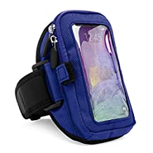 VanGoddy zippered Sport Case Cover Gym Running with removable strap Armband with card & key slot for Samsung Galaxy Note 4 / S5 SV / S5 SV Mini / Google LG Nexus 5 (Blue)