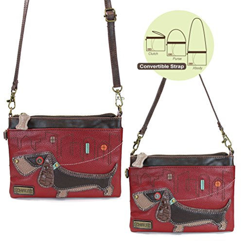 Chala Small Crossbody Phone Purse with 2 Adjustable Strap (Burgundy dachshund)