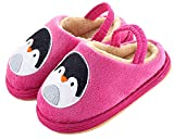 Toddler Kid's Penguin/Lion Winter House Shoes Velvet Soft Bootie Slipper (12 M Little Kid, Penguin-Pink)