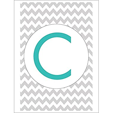 Monogram - Chevron - Gray and Teal - C (Playing Card Deck - 52 Card Poker Size with Jokers)