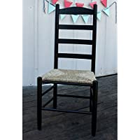 42 in. Woven Seat Ladderback Chair (Black)