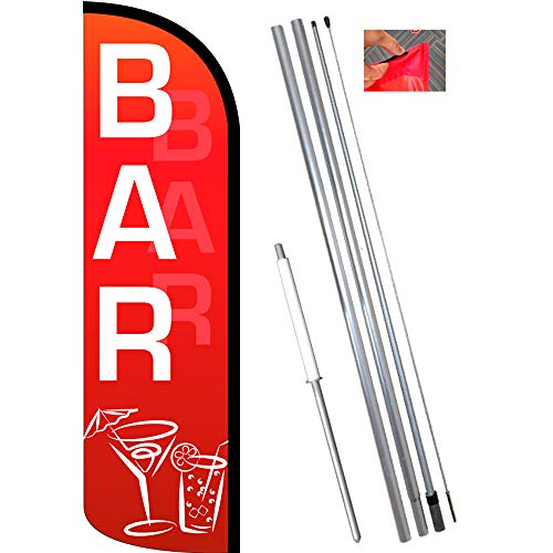 Bar (Red/White) Windless Feather Flag Bundle (11.5' Tall Flag, 15' Tall Flagpole, Ground Mount Stake)