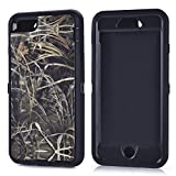 "MOONCASE iPhone 6S Plus Case, [Realtree Camo Series] 3 Layers Heavy Duty Defender Hybrid Soft TPU +PC Bumper Triple Shockproof Drop Resistance Protective Case Cover for Apple iPhone 6 Plus / 6S Plus 5.5"" -Black Grass"