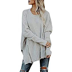 Beautife Womens Oversized Knitted Sweater Casual Crewneck Long Batwing Sleeve Jumper Pullover