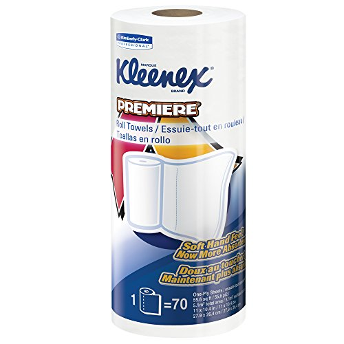 Kleenex Towels Premier Kitchen Paper Towels (13964), Cloth-Like Softness, Perforated, 24 Rolls/Case, 70 Kleenex Paper Towels/Roll