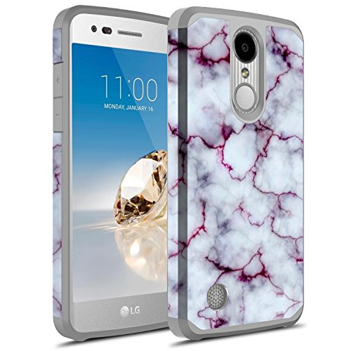 Rosebono Hybird Graphic Case For LG Zone 4/LG Aristo 2/LG Rebel 3 LTE/LG Rebel 2 LTE/LG Tribute Dynasty/LG Aristo/LG Phoenix 3/LG K8 (2017)/LG Fortune/LG Risio 2 (Pluple Marble)