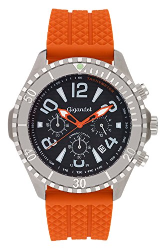 - Gigandet Men's Quartz Watch Aquazone Chronograph Analogue Silicone Strap Orange Black G23-005