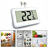 OFKP Digital Wireless Waterproof Freezer Fridge Thermometer with Hook & Frost Alert for Home Restaurants Bars And Cafes (White)