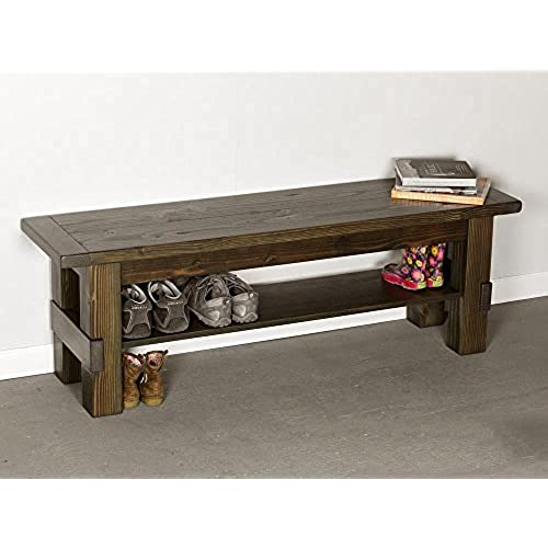 Solid Wood Storage Bench Entryway Seat And Shoe Shelf, Shoe Rack Storage  Organizer And Hallway Bench, 100% Rustic Seat Bench With Storage Shelf