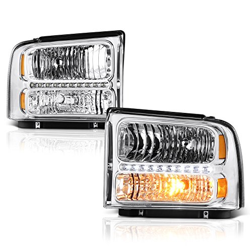 - VIPMOTOZ Chrome Housing LED Strip DRL OE-Style Headlight Headlamp Assembly For 2005-2007 Ford F-250 F-350 Superduty Pickup Truck, Driver & Passenger Side