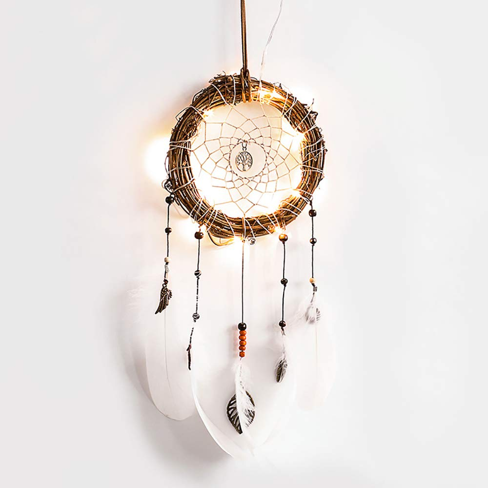ZONYEO Yellow DIY Dream Catcher White Feather LED Light Fairy Lights Hanging with Dipped Glitter Bohemian Wedding Nursery Kids Room Decor