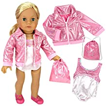 "18"" Doll Gymnastics 3 Pc. Set Fits 18 Inch American Girl Doll Clothes & More! Pink Leotard, Jacket & Gym Bag"