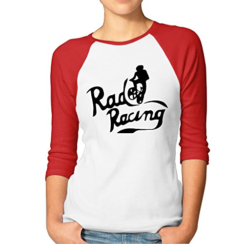 Rad Racing Vintage 80s Women 3/4 Sleeve Baseball Tee Shirts Red