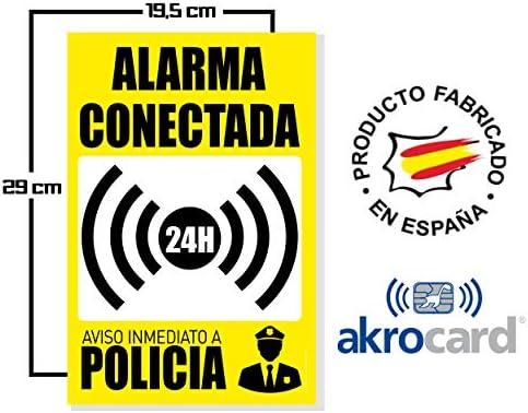 akrocard Cartel Resistente PVC - Alarma CONECTADA 24H Aviso INMEDIATO A POLICIA(amarillo) - Señaletica de Aviso - Ideal para Colgar y Advertir al ...