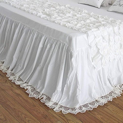 - Queen's House Vintage Crochet Lace Bed Skirt Dust Ruffles Coverlets Bedspreads-California King,16'' Drop