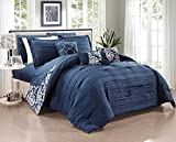 Chic Home 10 Piece Lea Complete Pleated ruffles and Reversible Printed Bed In a Bag Comforter Set of Sheets, King, Navy