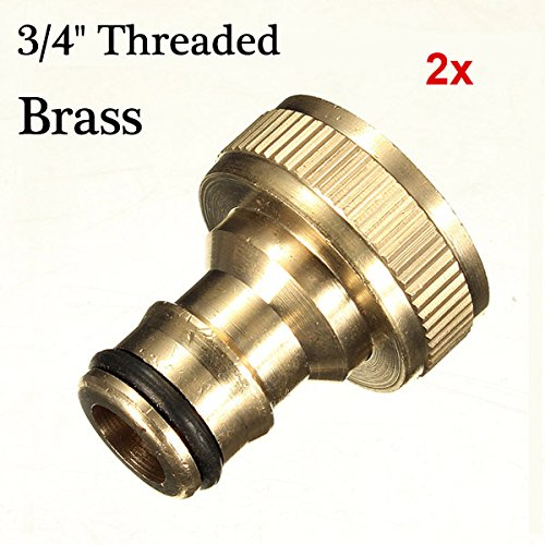 2x 3/4 Brass Threaded Garden Hose Water Tap Fittings Solid (0.75 Mm Solid Box)