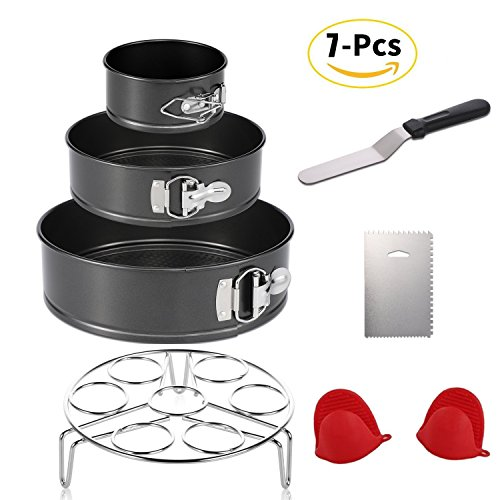 Instant Pot Accessories Set with Steamer Basket/Springform Pan Set of 3 Piece 4 inch 7 inch 9 inch Springform Pan/Icing Spatula/Icing Smoother/1 Pair Silicone Cooking Pot Mitts 7 Pcs