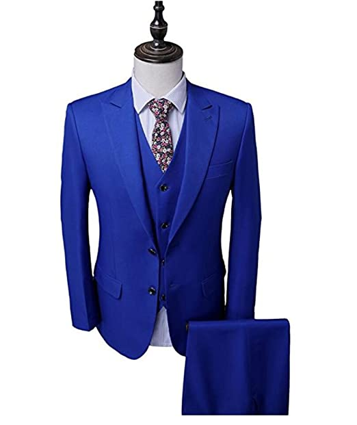 Men\'s Royal Blue Groom Tuxedos 3 PC Men Suits 2 Buttons Wedding ...