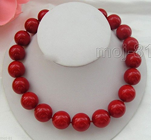 RARE Huge 14mm Coral Red Color South Sea Shell Pearl Necklace 18