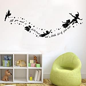 peter pan all you need is pixy dust childrens wall sticker mural kids bedroom black. Black Bedroom Furniture Sets. Home Design Ideas