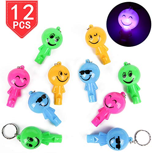 - PROLOSO LED Light Up Whistle Smiley Face Keychains with Hooks Plastic Key Rings Backpack Accesories for Gifts Prizes Party Favors