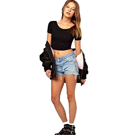 f8706c85c7001a Sexy  Casual Women Round Neck Short Sleeve Soild Basic Cropped T-Shirt  (Black