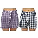 Hawiton Women's Plaid Cotton Sleeping Pajama Shorts Lounge Boxer Drawstring Bottoms (Z-Blue+Purple, Small)