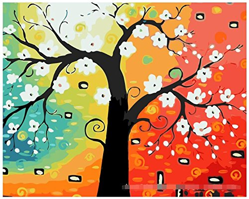 Diy oil painting, paint by number kit- Abstract tree¢ò 1620 inch.