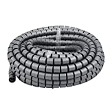 uxcell 20mm x 15m Flexible Spiral Tube Cable Wire Wrap Computer Manage Cable Gray