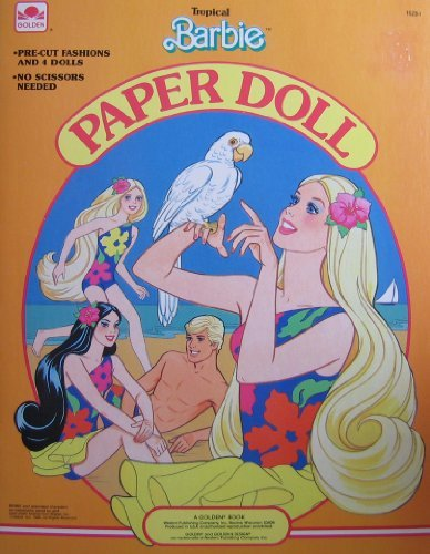 Tropical BARBIE Paper Doll Book w Barbie, Ken, Miko & Skipper Dolls & Pre-Cut Fashions (1986 Golden) from Tropical Barbie Paper Doll, A Golden Book
