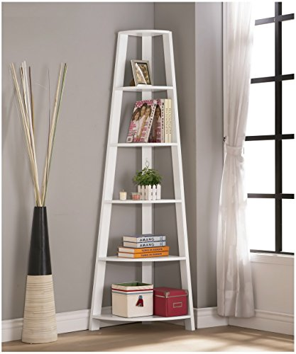 White Finish Wood Wall Corner 5-Tier Bookshelf Bookcase Accent Etagere by eHomeProducts