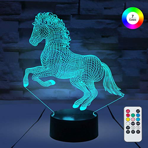 [ 7 Colors/3 Working Modes/Timer Function ] Remote and Touch Control Horse Night Lights, Dimmable LED Bedside Lamp for Children and Kid's Room ()