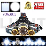 WALLER PAA 20000 Lumens CREE LED Headlamp Torch Cree 3x XM-L T6 Headlamp Head Light Lamp
