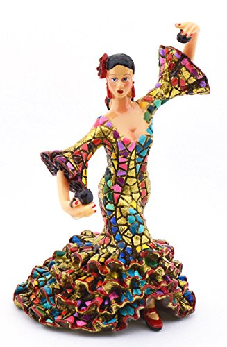 ART ESCUDELLERS Decorative Figure Flamenco Dancer in Gold Mosaic of Resin Hand Painted with The Modernist Technique TRENCADIS, in The Gaudí Style. 3,15