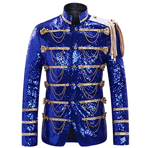 Party Prom Jacket - Cloudstyle Mens Party Coats Slim Fit Sequin Blazer Single Breasted Prom Vintage Suit Jacket