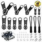 #3: WXJ13 40 PCS Black Zipper Repair Kit Zipper Replacement Parts and 3 PCS Zipper Pulls with a Clear Storage Box