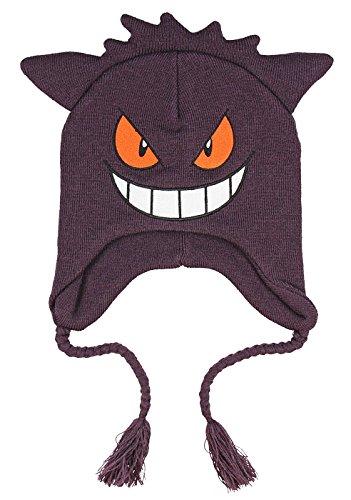 Pokemon Gengar Face 3D Plush Laplander Beanie One Size Purple