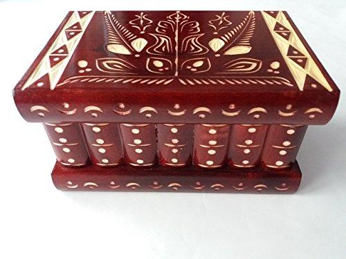 Caja puzzle nuevo grande rojo caja de joyas talladas caja mágica misterio caja de madera rompecabezas caja secreta trinket complicado cajón de madera caja escondida: Amazon.es: Handmade
