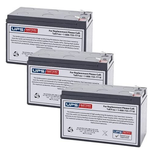 (3) 12V 7Ah F1 - Compatible Replacement Battery Set for Tripp Lite SMART700HG by UPSBatteryCenter